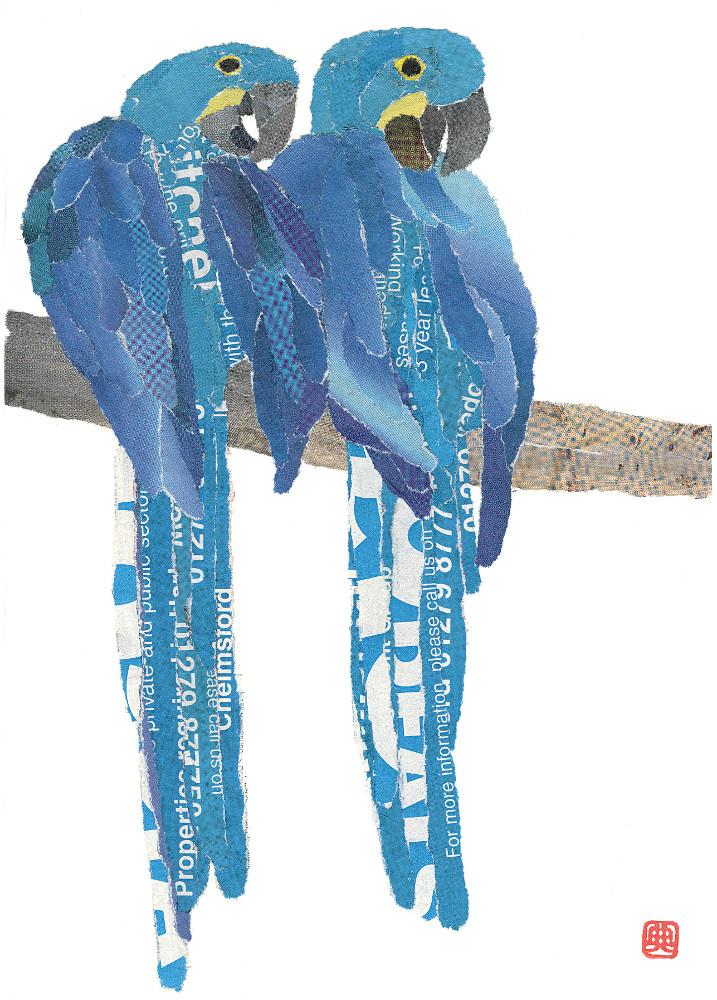 Blue Parrots. Chigirie. Hand-torn newspaper collage by Japanese artist Noriko Matsubara, inspired by the natural world-nature-bird