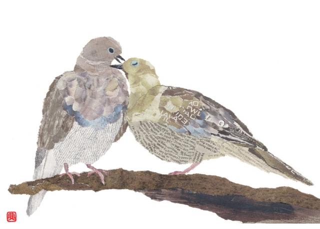 Pigeons. Hand-torn newspaper collage by Japanese artist Noriko Matsubara, inspired by the natural world-nature-bird