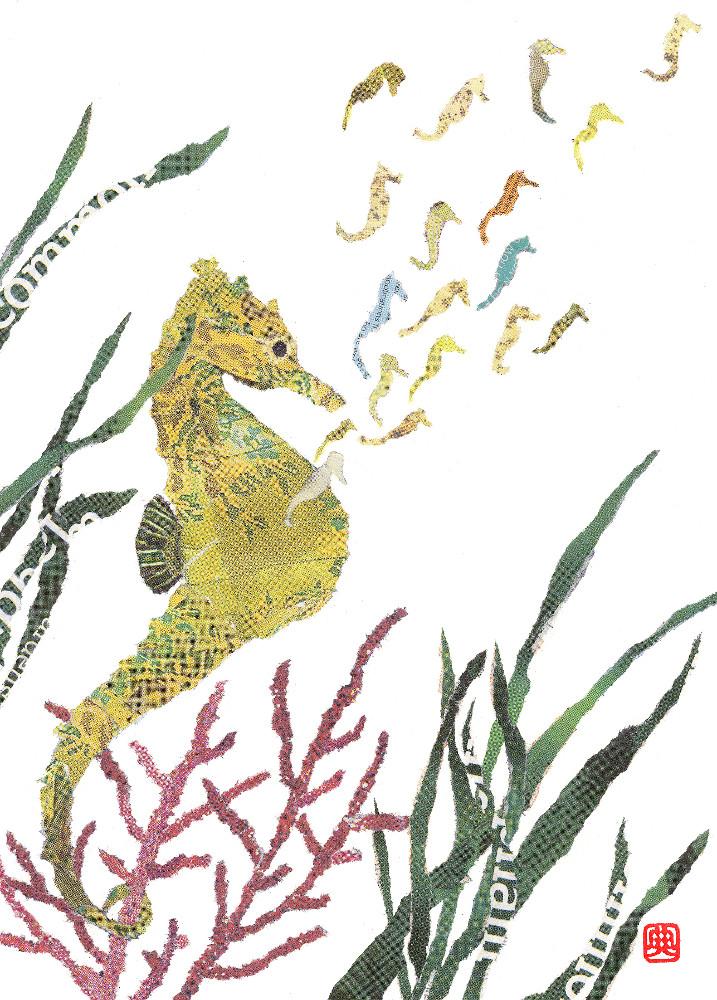 Seahorses. Chigirie. Hand-torn newspaper collage by Japanese artist Noriko Matsubara, inspired by the natural world-nature-sea-creature