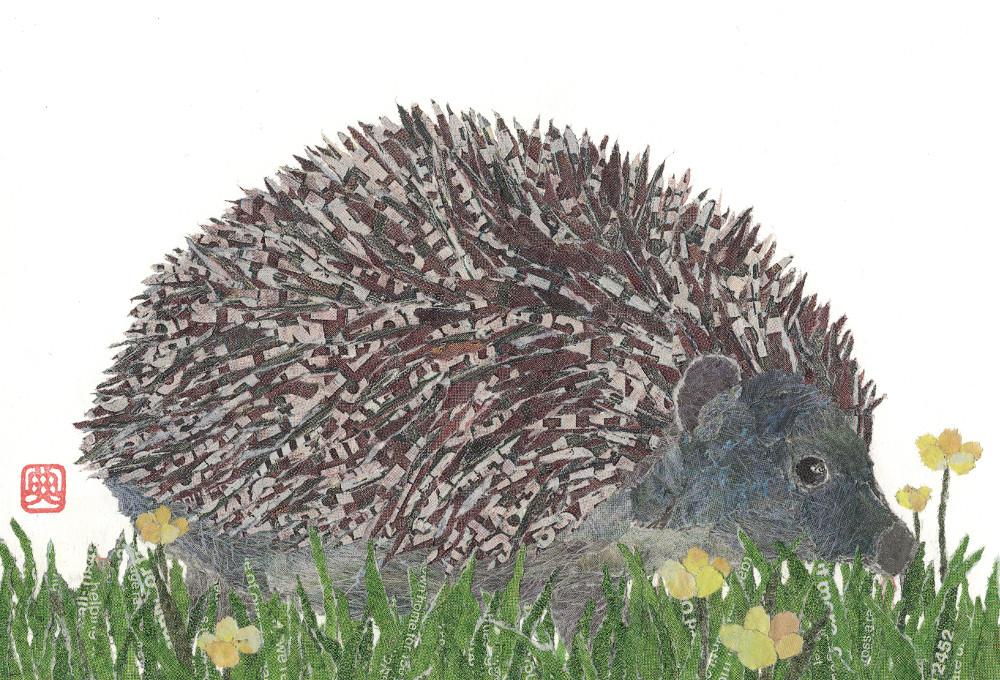 Hedgehog. Hand-torn newspaper collage by Japanese artist Noriko Matsubara, inspired by the natural world-nature-animal