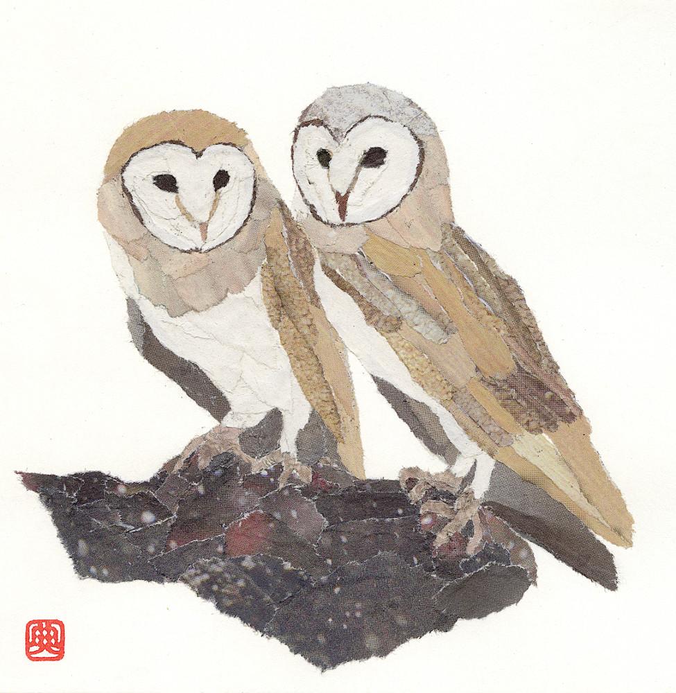 Owls. Hand-torn newspaper collage by Japanese artist Noriko Matsubara, inspired by the natural world-nature-bird