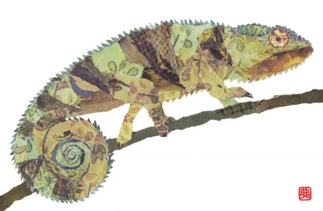 Chameleon.  Chigirie. Hand-torn newspaper collage by Japanese artist Noriko Matsubara, inspired by the natural world-nature-animal-creature