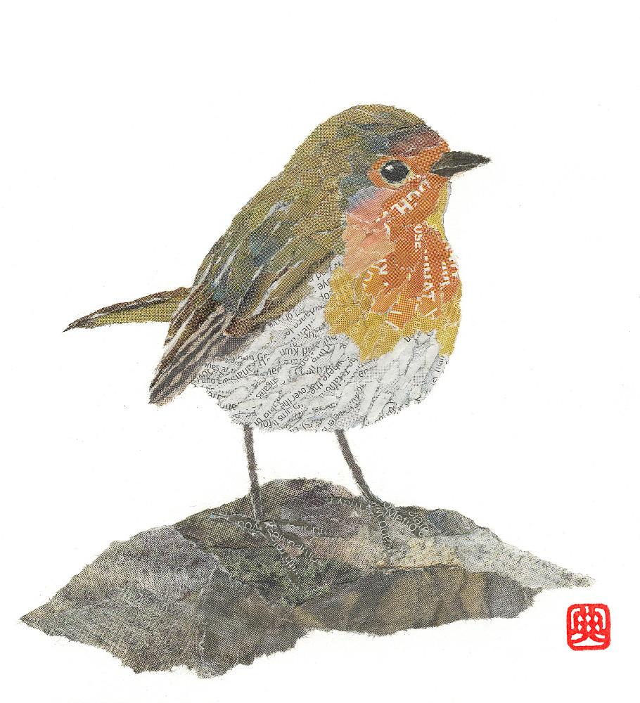 Robin. Hand-torn newspaper collage by Noriko Matsubara-Japanese artist, inspired by the natural world -nature-bird