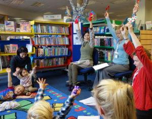 Children's book author and illustrator Noriko Matsubara's author visit at Bishops Stortford Library, Hertfordshire, UK.