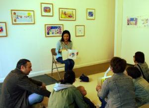 Children's book author and illustrator Noriko Matsubara's Book Reading at Gatehouse Gallery, Harlow, Essex, UK