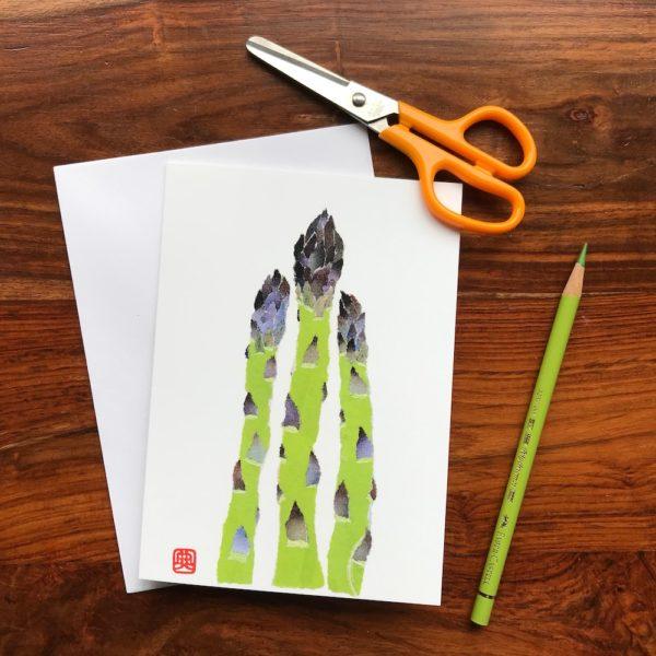 Asparagus Chigiri-e greeting card by Japanese artist Noriko Matsubara