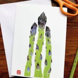 Asparagus Chigiri-e Card