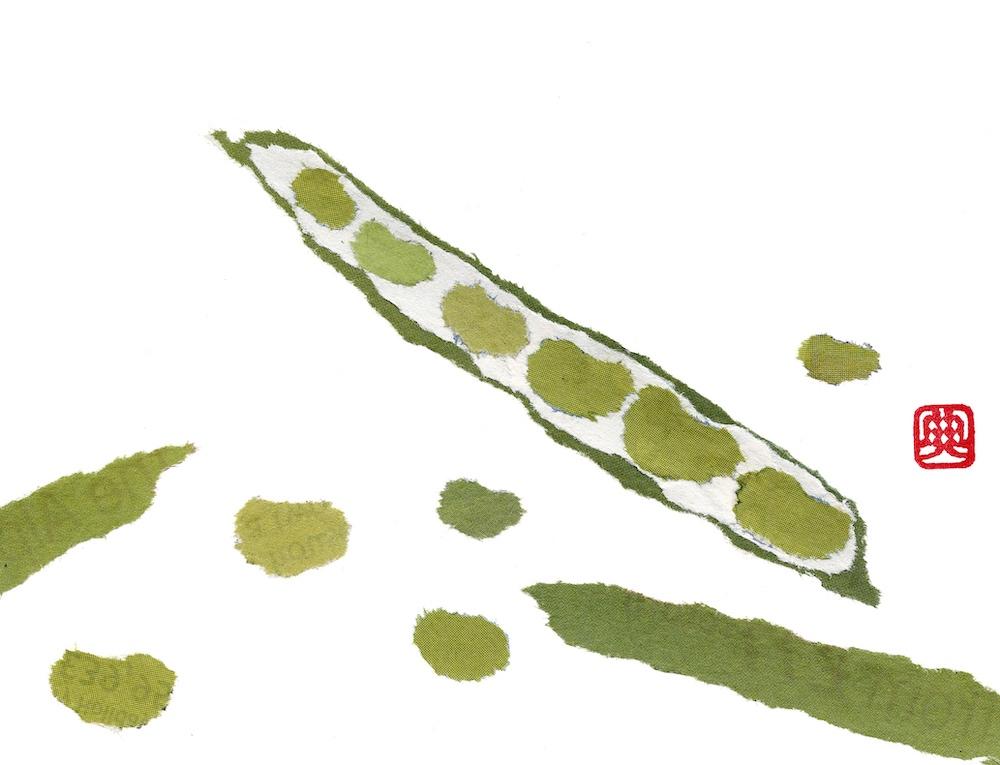 Chigiri-e Japanese Paper Collage Beans