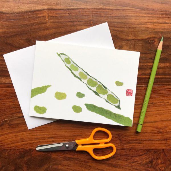 Beans Chigiri-e greeting card by Japanese artist Noriko Matsubara