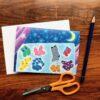 Bocchi and Pocchi Socks Children's greeting card by Japanese artist Noriko Matsubara