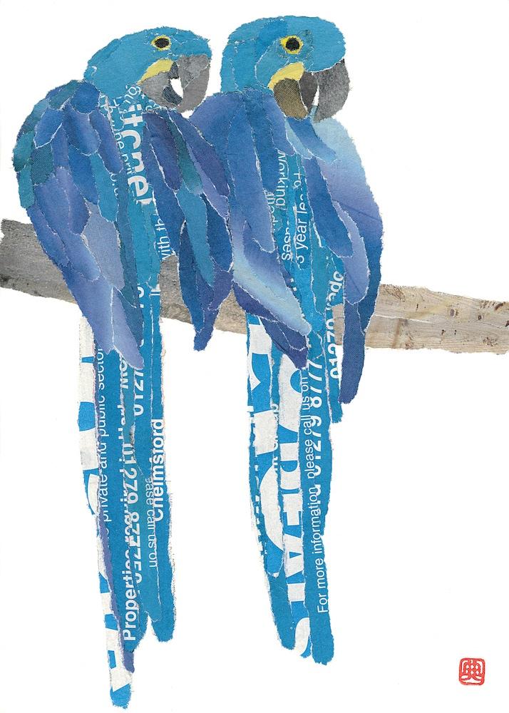 Chigiri-e Japanese Paper Collage Blue Parrots