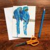 Blue Parrots Chigiri-e greeting card by Japanese artist Noriko Matsubara