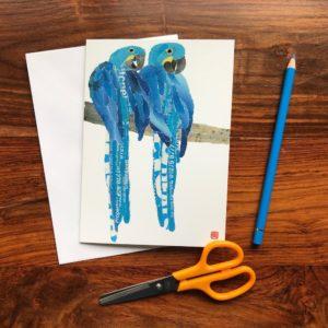 Blue Parrots Chigiri-e Card (M)