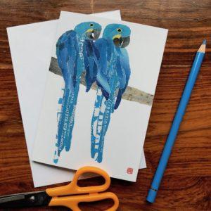 Blue Parrots Chigiri-e Card (S)