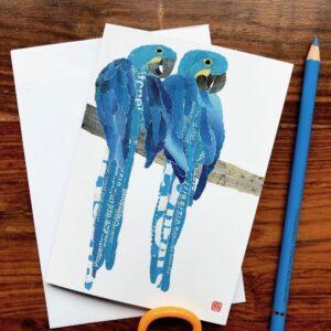 Blue Parrots Chigiri-e Card