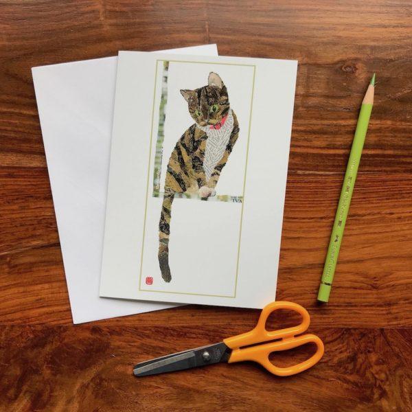 Cat by the Window Chigiri-e greeting card by Japanese artist Noriko Matsubara
