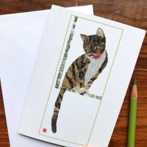 Cat by the Window Chigiri-e Card