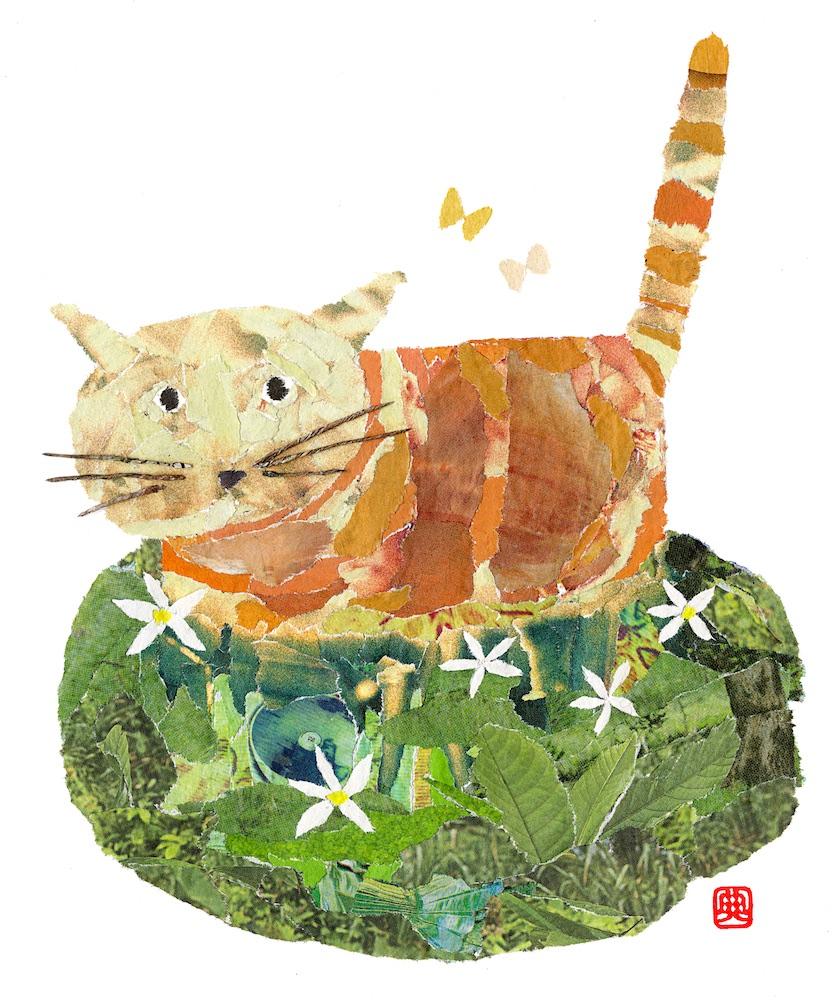 Chigiri-e Japanese Paper Collage Cat in the Field