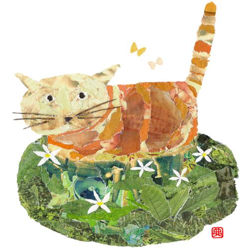 Cat in the Field chigirie Japanese paper collage by Japanese artist Noriko Matsubara