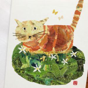 Cat in the Field Chigiri-e Card (M)