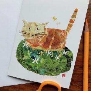 Cat in the Field Chigiri-e Card (S)