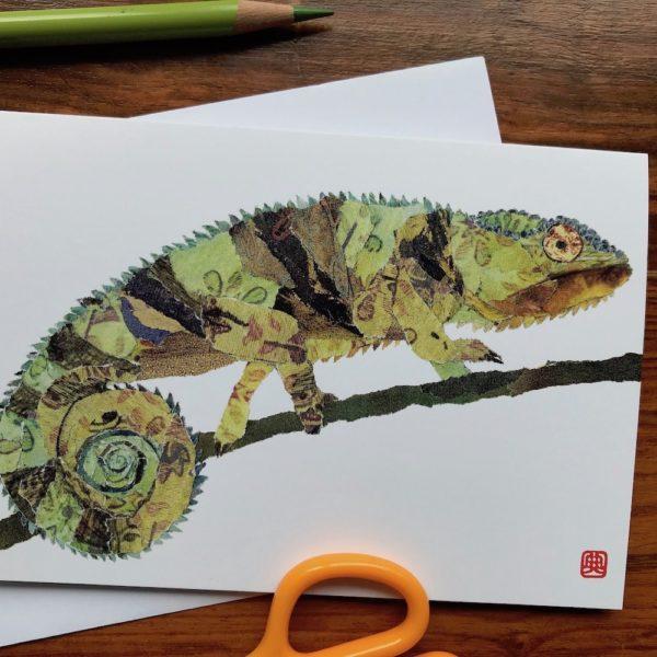 Chameleon Chigiri-e greeting card by Japanese artist Noriko Matsubara