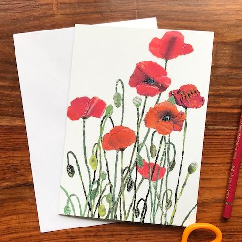 Chigiri-e Poppies greeting card by Noriko Matsubara