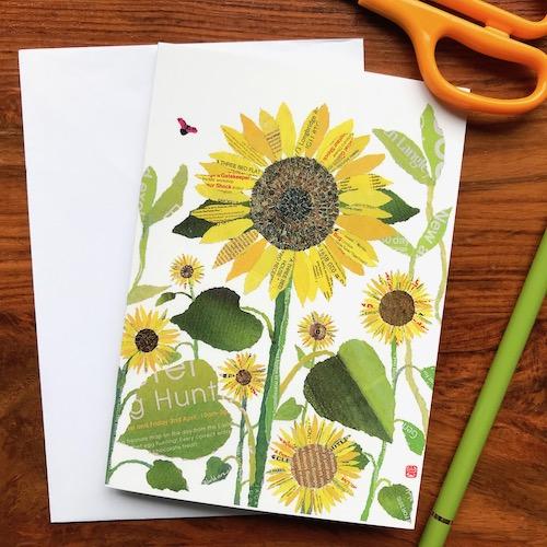 An image of Sunflower chigiri-e greeting card by Noriko Matsubara
