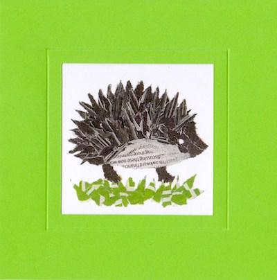 Chigiri-e Hedgehog by Japanese artist Noriko Matsubara
