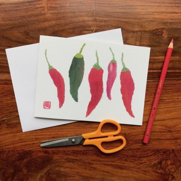 Chillies Chigiri-e greeting card by Japanese artist Noriko Matsubara