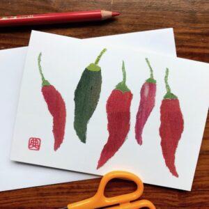 Chillies Chigiri-e Card