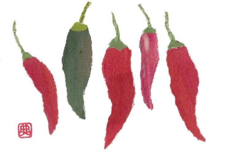 Chigiri-e paper collage of chillies
