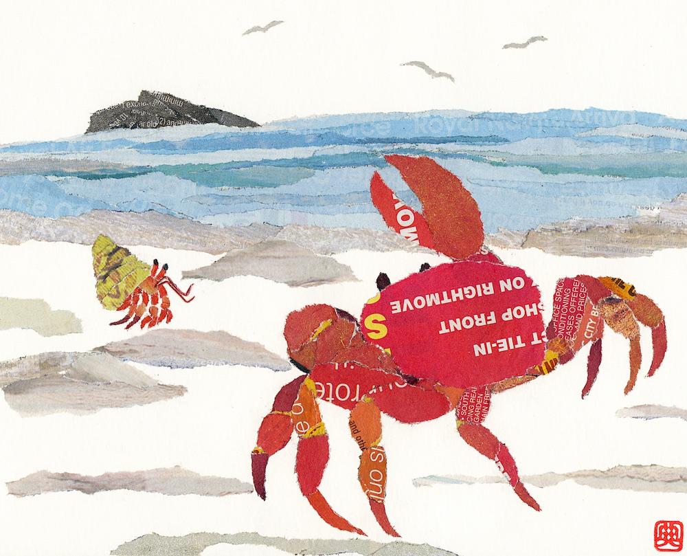 Chigiri-e Japanese Paper Collage Crab on the Shore