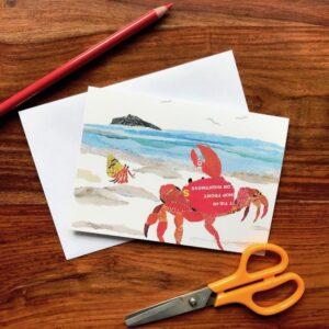 Crab on the Shore Chigiri-e Card