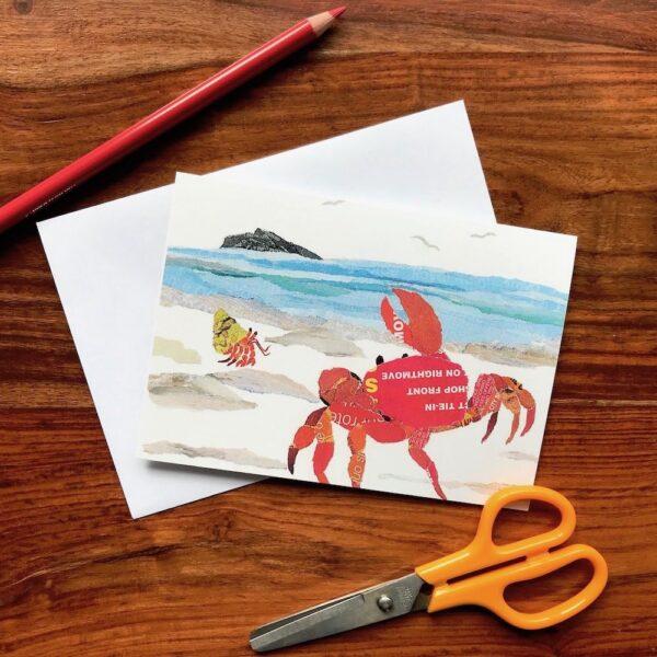 Crab on the Shore Chigiri-e greeting card by Japanese artist Noriko Matsubara