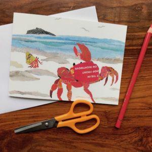 Crab on the Shore Chigiri-e Card (M)