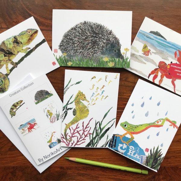 Set of 5 Chigiri-e Creature Collection Greeting Cards by Noriko Matsubara