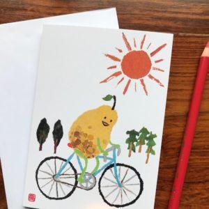 Cycling Pear Chigiri-e Card (S)