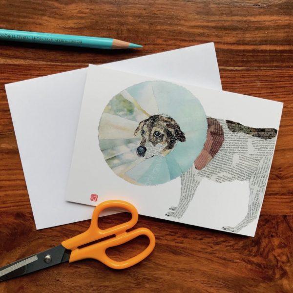 Dog Enfunnelled Chigiri-e greeting card by Japanese artist Noriko Matsubara