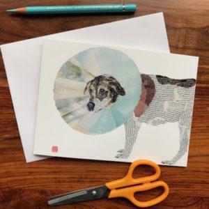 Dog Enfunnelled (Perie) Chigiri-e Card (M)