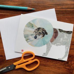 Dog Enfunnelled (Perie) Chigiri-e Card (S)