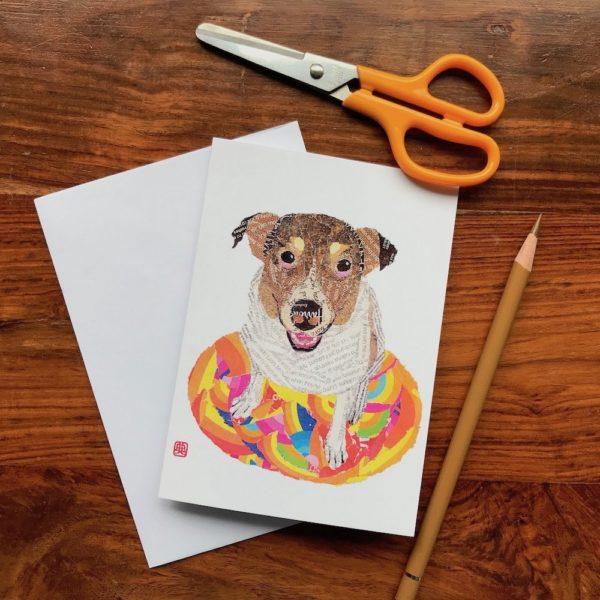 Dog on the Rug Chigiri-e greeting card by Japanese artist Noriko Matsubara