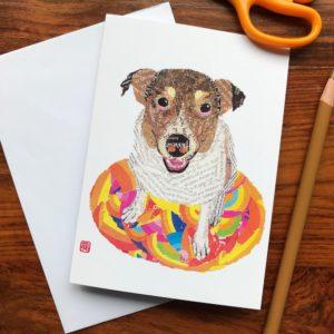 Dog on the Rug (Perie) Chigiri-e Card (S)