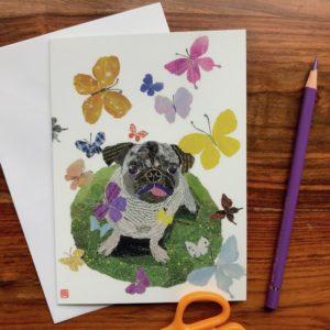 Dog with Butterflies (Pugsy) Chigiri-e Card (M)