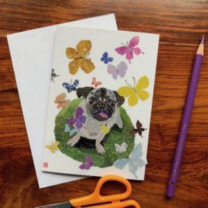 Dog with Butterflies (Pugsy) Chigiri-e Card (S)