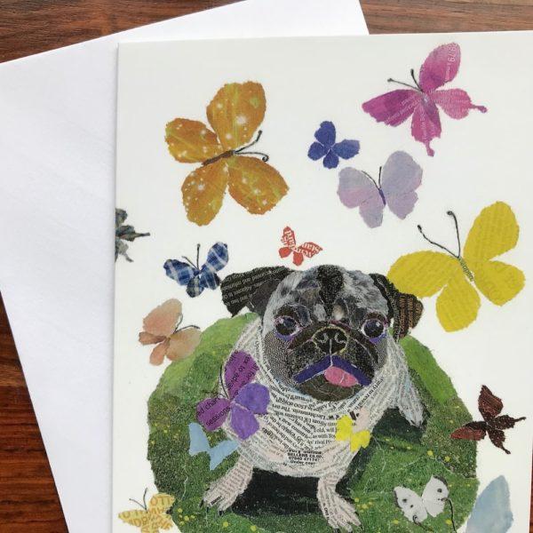 Dog with Butterflies Chigiri-e greeting card by Japanese artist Noriko Matsubara
