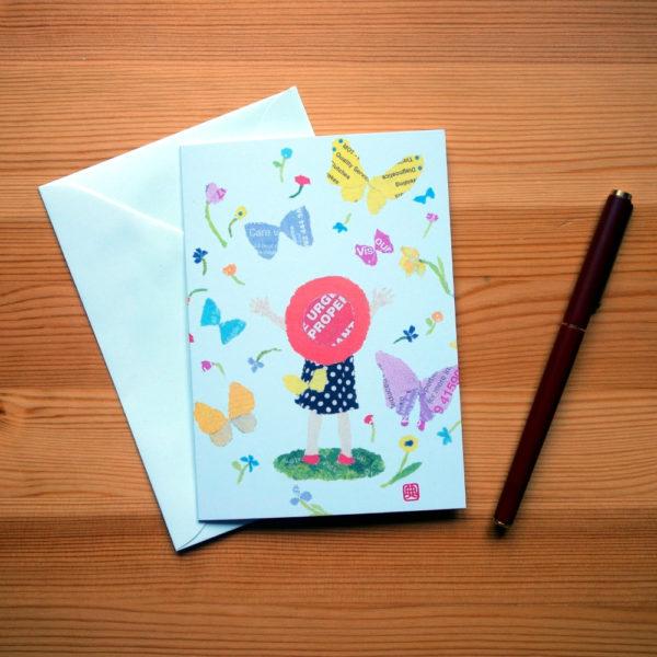 Beautiful World Chigiri-e greeting card by Japanese artist Noriko Matsubara