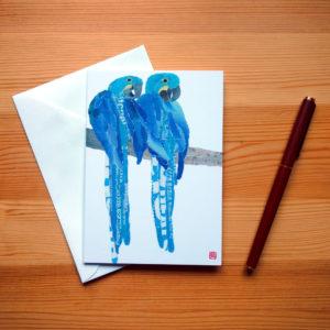 Blue Parrots Chigiri-e Greeting Card