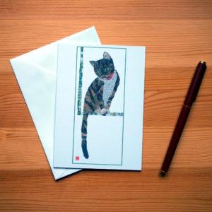 Cat by the Window Chigiri-e Greeting Card