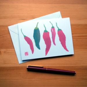 Chillies Chigiri-e Greeting Card